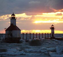 Sunset on Lake Michigan at St Joseph North Pier - 10 by Debbie Mueller