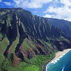 Na Pali Coastline Aerial View by printscapes
