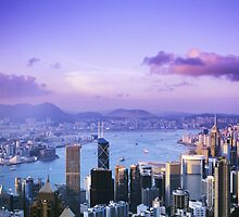 Hong Kong Skyline at Twilight by printscapes