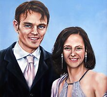 Matt and Sophies Wedding Painting by Richard Mountford