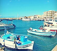 Boats in the Venetian Harbour, Crete by Susan Wellington