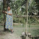 woman and her 2 young coconut trees by wellman