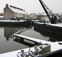Snowfall, Bridgwater Docks. by Antony R James