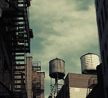New York City roofs and water towers in Kodachrome by Reinvention