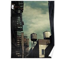New York City roofs and water towers in Kodachrome Poster