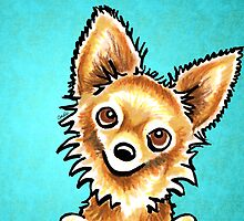 Long Haired Tan Chihuahua by offleashart