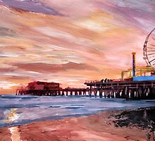 Santa Monica Pier at Sunset by artshop77
