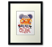 Be Warm! - Rondy the Elephant in his favorite sweater Framed Print
