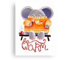Be Warm! - Rondy the Elephant in his favorite sweater Canvas Print