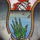 hold fast; sinking ship tattoo flash, zombie tattoo art by resonanteye