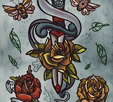 bugs, roses, dagger tattoo flash art by resonanteye