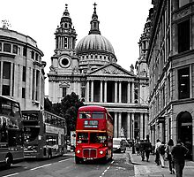 St Paul's Cathedral, London and a London Bus by Andrew Robinson