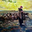 Shepherdess with her Flock after Jean-Francois Millet by Hidemi Tada