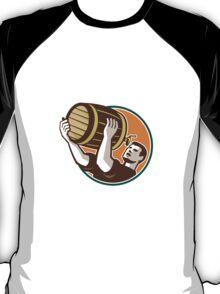 Bartender Pouring Drinking Keg Barrel Beer Retro T-Shirt