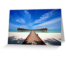 Idyllic Symmetry. Water Villas. Maldives Greeting Card