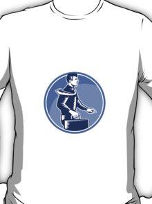 Businessman Carry Attache Case Walking Side Woodcut T-Shirt