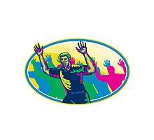 Happy Marathon Runner Running Oval Retro by patrimonio