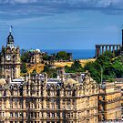 Calton Hill behind the Balmoral by Tom Gomez