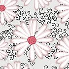 Hot Pink Silver and Black Floral Daisy Design by rozine