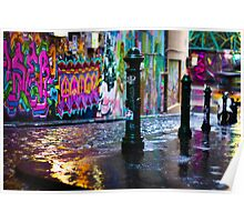 Bollards in a Rainy Graffiti Lane Poster