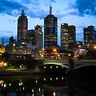 Melbourne Skyline at Dusk by jamjarphotos