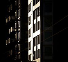 Apartment block at dusk (2) by Nick Dale
