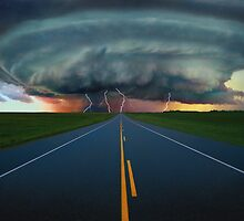 Massive Storm Cloud over Highway by printscapes