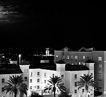 Full Moon Over St Petersburg in B&W by Zzenco