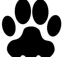 Black Big Cat Paw Print by kwg2200