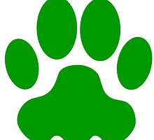 Green Big Cat Paw Print by kwg2200