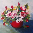 Red Bowl of Flowers by Val Spayne