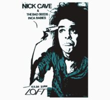 Nick Cave & the Bad Seeds Gig Flyer Tee (Blue print) by Jarrod Knight