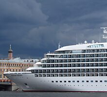 Seabourn Sojourn Berthed Beneath Stormy Skies by Mary-Elizabeth Kadlub