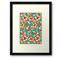 Rust & Teal Floral Pattern Framed Print