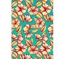 Rust & Teal Floral Pattern Photographic Print