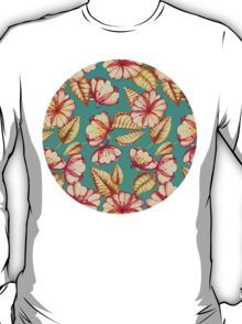 Rust & Teal Floral Pattern T-Shirt