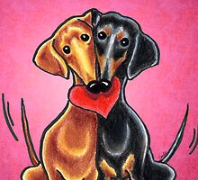 Dachshunds in Love Pink by offleashart