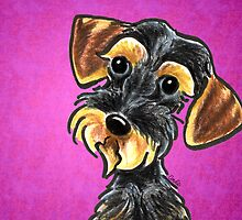 Wild Boar Wire Haired Dachshund Purple by offleashart