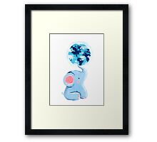 Good Luck Elephant - Rondy holding planet Earth Framed Print