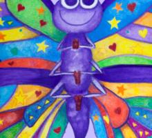 Yoga Butterfly in Namaste (purple background) Sticker