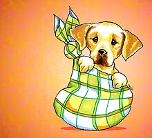 Yellow Lab New Puppy Orange by offleashart