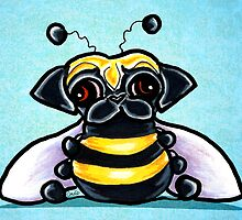 Pug as a Bumble Bee Blue by offleashart