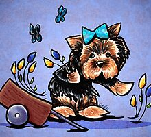 Yorkie in Tulip Garden Purple by offleashart
