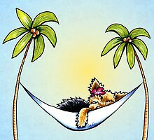 Yorkie in Palm Tree Hammock by offleashart
