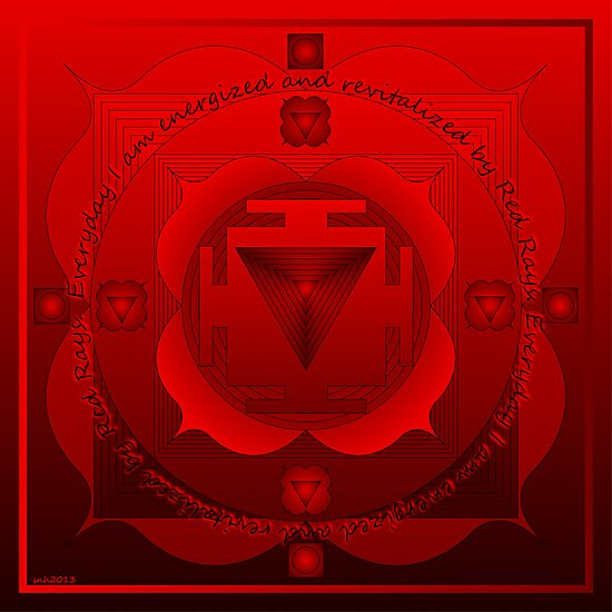 Chakra Mandala  Muladhara Red Colour rays by shoffman
