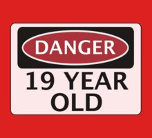 DANGER 19 YEAR OLD, FAKE FUNNY BIRTHDAY SAFETY SIGN by DangerSigns