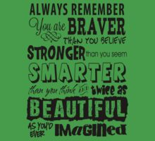 Positive Affirmation Typography Design - You are Brave, Strong, Smart & Beautiful Kids Clothes