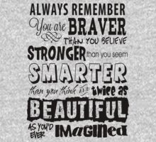 Positive Affirmation Typography Design - You are Brave, Strong, Smart & Beautiful by traciv