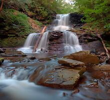 August Evening Below Tuscarora Falls by Gene Walls