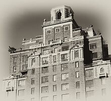 New York City Building, old sepia postcard by Reinvention